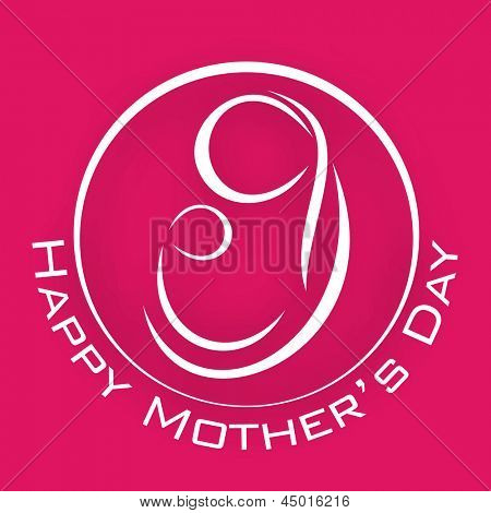 Line art design on a mother with child on her lap on pink background with text Happy Mothers Day.