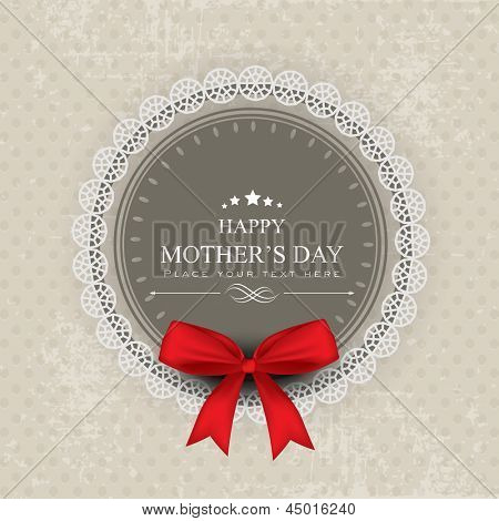 Happy Mothers Day background with red ribbon.