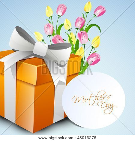 Happy Mothers Day concept with a gift box and flowers with tag.