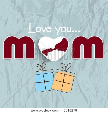 Happy Mothers Day concept with text love you mom on grey background.