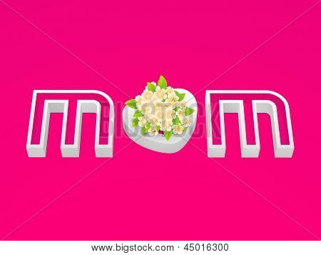 Abstract Happy Mothers Day concept with 3D pink text MOM with flowers.