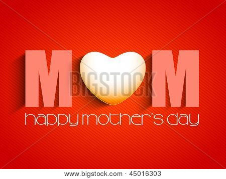poster of Happy Mothers Day concept with text MOM on red background.