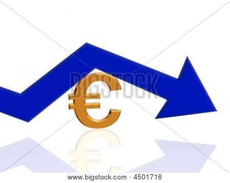 3d golden euro sign with blue arrow poster