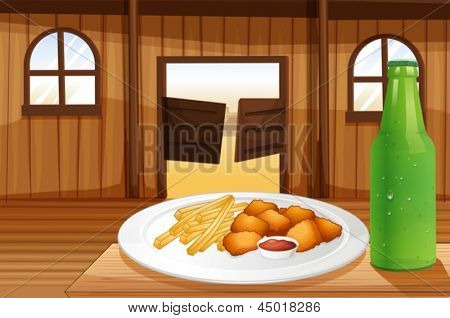 Illustration of a table with a plate of food and a soda