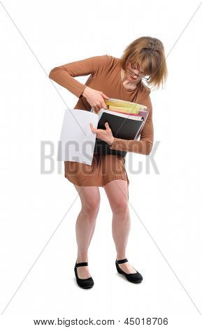 anxious busy woman in brown dress isolated on white background