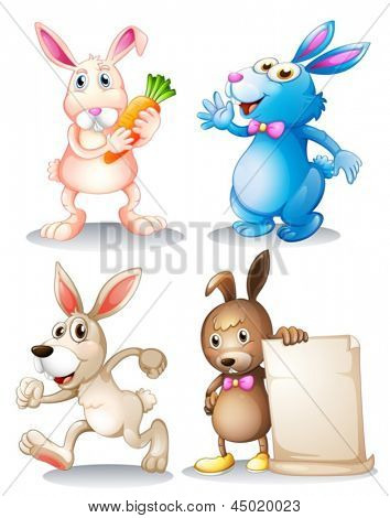 Illustration of the four rabbits on a white background