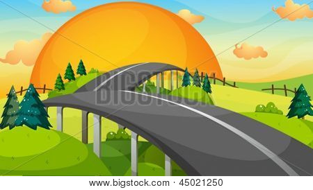 Illustration of a long road with a sunset