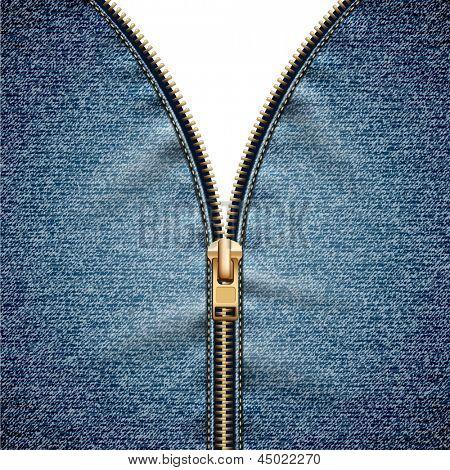 Denim texture with open zipper - eps10