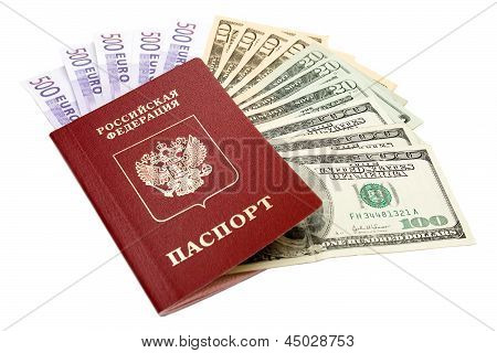 Russian International Passport And Money