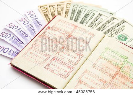 European Union Passport With Customs Stamps