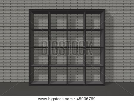Black Empty Square Bookshelf On Grey Brick Wall Background