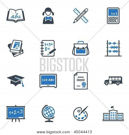 School and Education Icons Set 1 - Blue Series