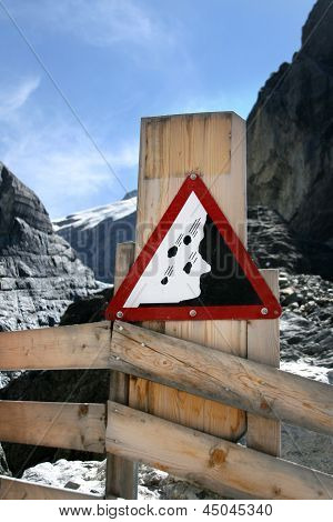 Information Sign In Grindelwald Glacier, Switzerland