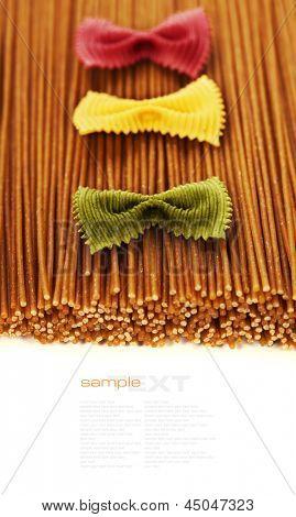 whole wheat spaghetti and Farfalle pasta