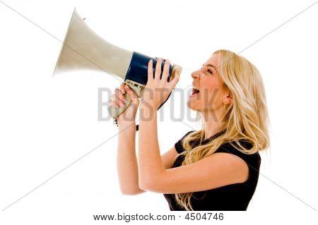 Woman Shouting In Loud Speaker