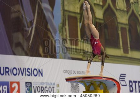 MOSCOW, RUSSIA - APRIL 20: Larisa Andreea Iordache, Romania performs vault in the final of 5th European Championships in Artistic Gymnastics in Moscow, Russia on April 20, 2013