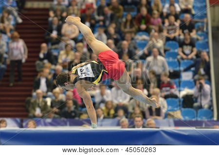 MOSCOW, RUSSIA - APRIL 20: Matthias Fahrig, Germany performs floor exercise in the final of 5th European Championships in Artistic Gymnastics in Moscow, Russia on April 20, 2013