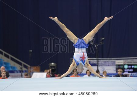 MOSCOW, RUSSIA - APRIL 20: Max Whitlock, Great Britain performs the floor exercise in the final of 5th European Championships in Artistic Gymnastics in Moscow, Russia on April 20, 2013