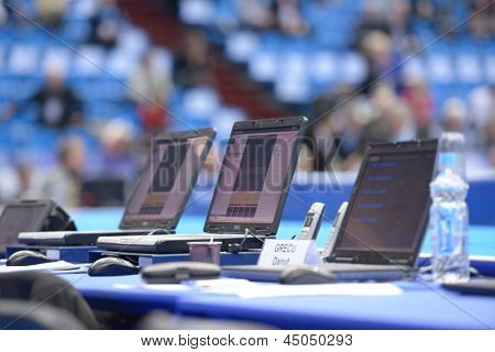 MOSCOW, RUSSIA - APRIL 20: Referees workplaces during the finals of 5th European Championships in Artistic Gymnastics in Moscow, Russia on April 20, 2013
