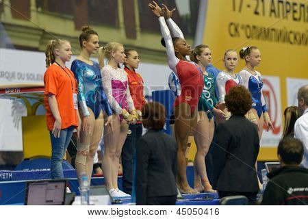 MOSCOW, RUSSIA - APRIL 20: Finalists in vault during 5th European Championships in Artistic Gymnastics in Moscow, Russia on April 20, 2013