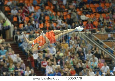 MOSCOW, RUSSIA - APRIL 20: Jeffrey Wammes, Netherlands performs the floor exercise in the final of 5th European Championships in Artistic Gymnastics in Moscow, Russia on April 20, 2013