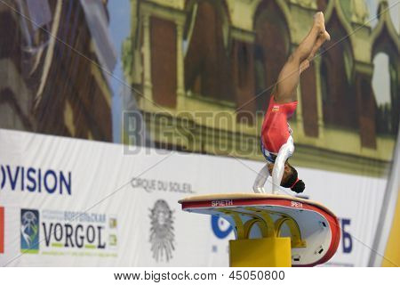 MOSCOW, RUSSIA - APRIL 20: Chantysha Netteb, Netherlands performs vault in the final of 5th European Championships in Artistic Gymnastics in Moscow, Russia on April 20, 2013