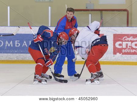 NOVOGORSK, RUSSIA - APRIL 12: Players of men's national junior ice hokey team during open training in Novogorsk training center, Moscow region, Russia on April 12, 2013