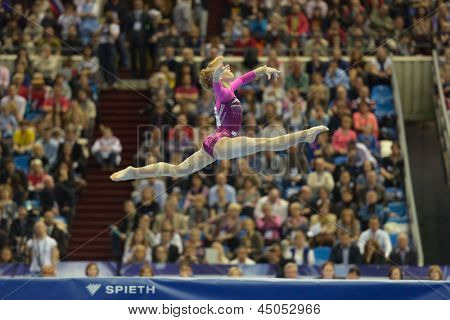 MOSCOW, RUSSIA - APRIL 21: Anastasia Grishina, Russia performs floor exercise in final of 5th European Championships in Artistic Gymnastics in Moscow, Russia on April 21, 2013