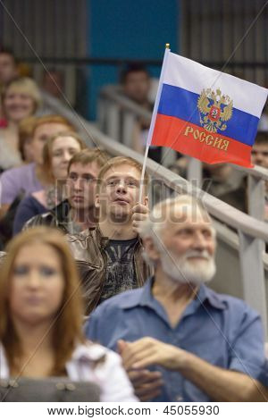 MOSCOW, RUSSIA - APRIL 21: Russian fans support the athletes in final of 5th European Championships in Artistic Gymnastics in Moscow, Russia on April 21, 2013