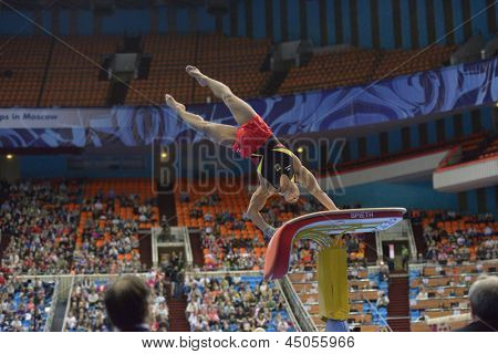 MOSCOW, RUSSIA - APRIL 21: Matthias Fahrig, Germany performs vault in final of 5th European Championships in Artistic Gymnastics in Moscow, Russia on April 21, 2013