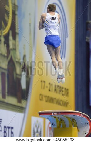 MOSCOW, RUSSIA - APRIL 21: Oleg Verniaiev, Ukraine performs vault in final of 5th European Championships in Artistic Gymnastics in Moscow, Russia on April 21, 2013