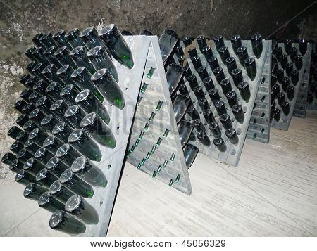 Champagne bottles stored in Schramsberg cellar during riddling