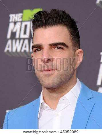 LOS ANGELES - APR 14:  Zachary Quinto arrives to the Mtv Movie Awards 2013  on April 14, 2013 in Culver City, CA.
