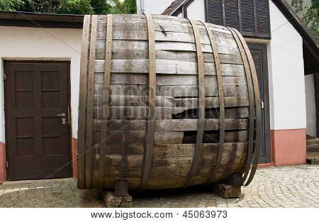 Very Old Large Wine Barrel, Oval Shaped