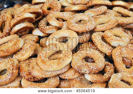 Close Up Of Appetizing Brown Cakes Looks As Rings