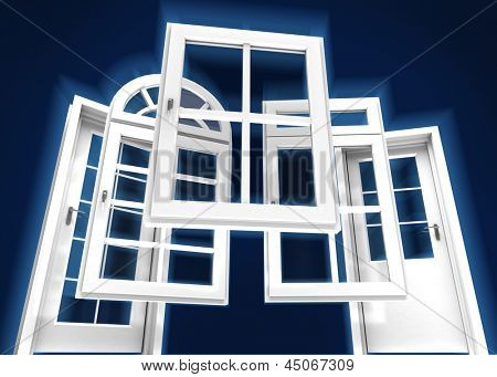 Selection of doors and windows with a dark blue background