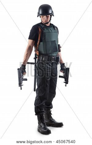 Police Officer Is Holding 2 Guns. Isolated On White.