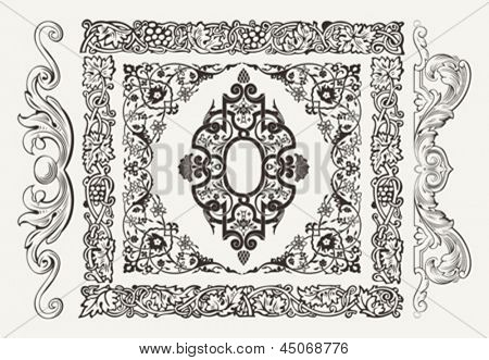Vector set of golden ornate page decor elements: borders, banner, dividers, ornaments and patterns