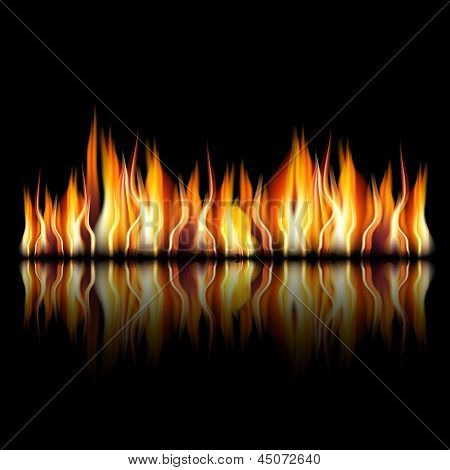 illustration of burning fire flame on black background, Zip includes 300 dpi JPG, Illustrator CS, EPS10. Vector with transparency. poster