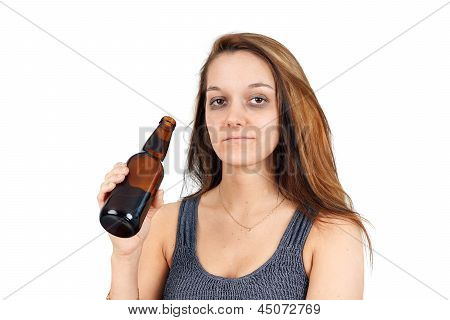 Drunk Woman On White
