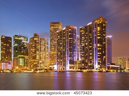 City of Miami Florida colorful night panorama of downtown