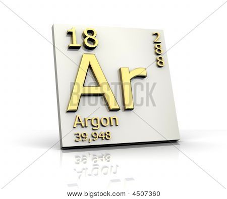 Argon form Periodic Table of Elements - 3d made poster