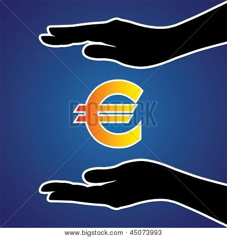 Vector illustration of protecting or safeguarding euro money. This graphic conceptually represents safeguarding money investment riches money or any other financial asset poster