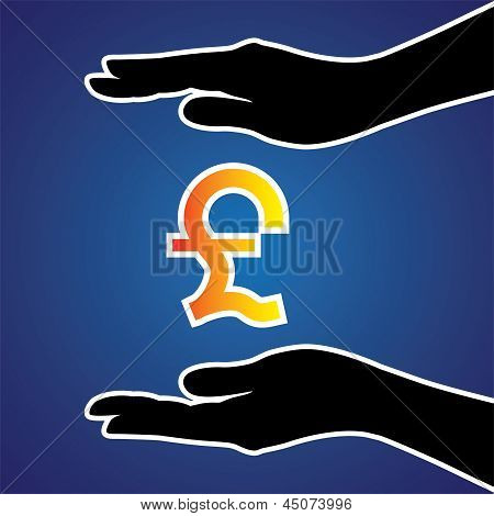 Vector Illustration Of Protecting Or Safeguarding Pound Sterling