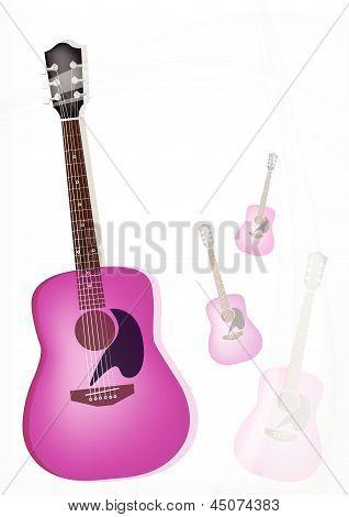 A Pink Guitar On Modern Elegance Background