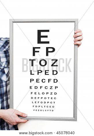 Man Showing Snellen Eye Exam Chart On White Background