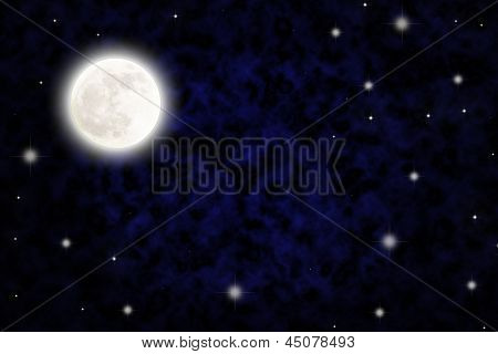 Night sky with fullmoon and stars