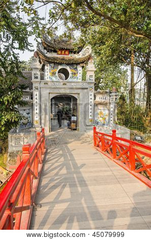 HANOI, VIETNAM - JANUARY 13: Ngoc Son Temple was built in the 18th century on Jade Island in the center of the �Lake of the Returned Sword� or Hoan Kiem Lake, on January 13, 2013 in Hanoi.