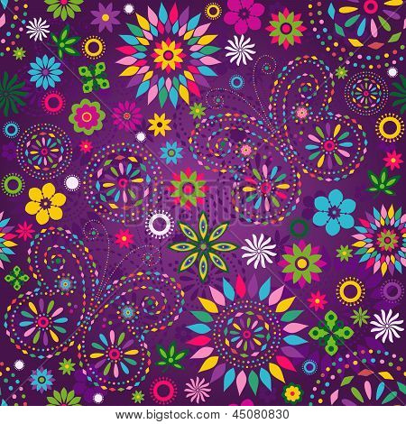 Seamless motley vivid violet floral pattern with colorful flowers butterflies and decorative circles (vector) poster