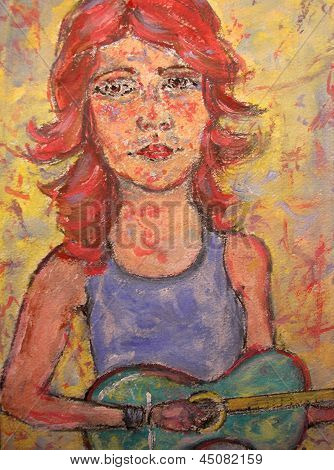 Girl Playing Green Guitar